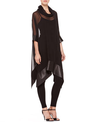 Maxine Leather-Hem Tunic, Silk-Jersey Camisole & Silk-Jersey Leggings