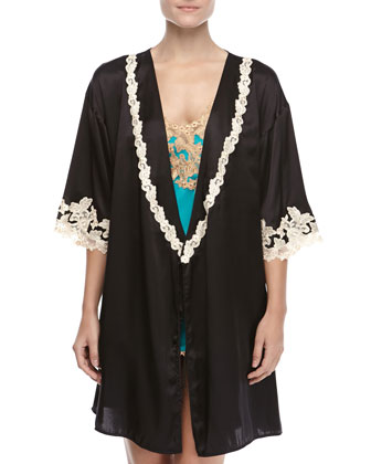 Maison Embroidered Short Robe & Maison Satin Chemise