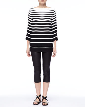 Linette Graduated-Stripe Tunic and Denver Leather Capri Pants