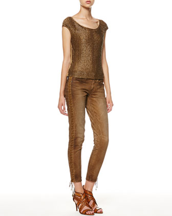 Diane Beaded-Front Top and Distressed Lace-Up Jeans