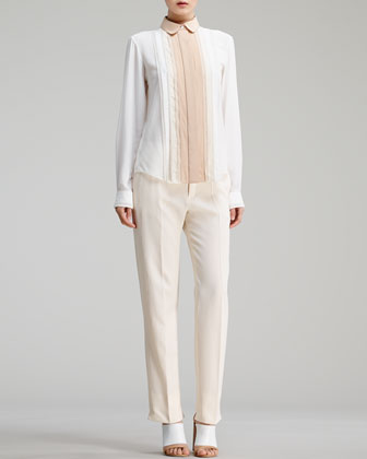 Button-Front Eyelet Blouse & Straight-Leg Trousers