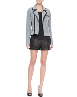 Rag & Bone Adrienne Knit Jacket, Leon Chiffon-Back Tank & Elm Leather Shorts