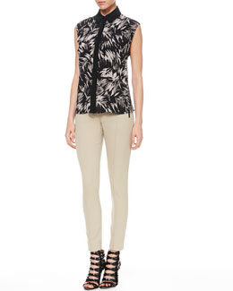 Jason Wu Botanical Cutaway-Back Blouse & Bi-Stretch Ankle Pants