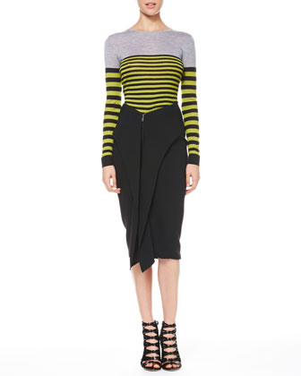Multicolor Striped Pullover & Cascade-Front Zip Skirt