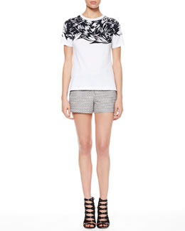 Jason Wu Printed Jersey Botanical Tee & Tweed Piped-Pocket Shorts