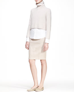 THE ROW Cropped Turtleneck Sweater, Button-Up Blouse & Heavyweight Denim Skirt