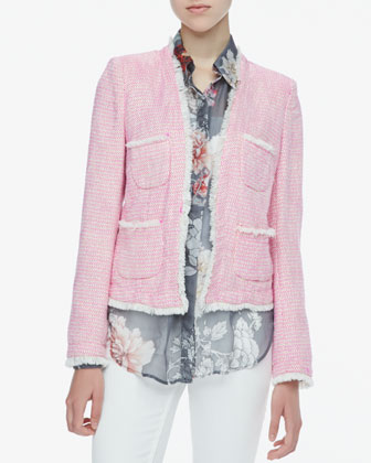 Frayed-Trim Tweed Jacket & Printed Sheer Chiffon Blouse