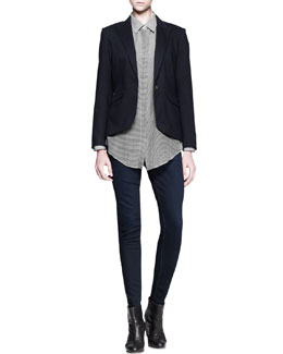 Rag & Bone Jett Pleat-Back Blazer & Redwood Striped Shoulder-Patch Shirt