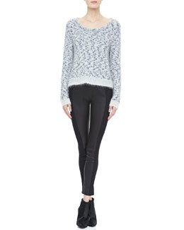 Rag & Bone Jayda Knit Pullover and Glasgow Paneled Leather Leggings