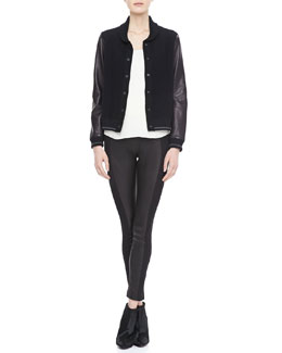 Rag & Bone Reina Varsity Jacket, Jade Silk Top & Glasgow Paneled Leather Leggings