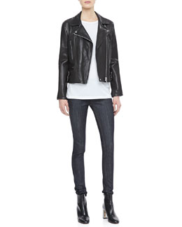 Victoria Beckham Denim Joan Leather Biker Jacket, Basic Tee & Raw Superskinny Jeans