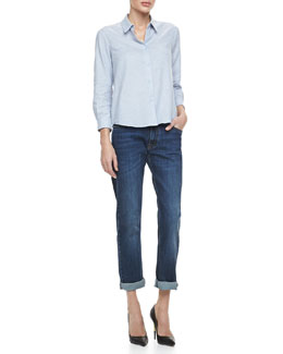Victoria Beckham Denim Basic Button-down Shirt & Indigo Vintage Boyfriend Jeans