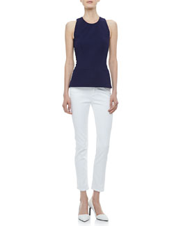 Victoria Beckham Denim Paneled Round-Neck Shell & Slim Ankle Jeans