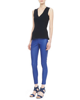 Victoria Beckham Denim Paneled V-Neck Shell and Leather Leggings