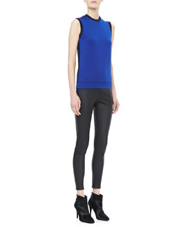 Victoria Beckham Denim Sleeveless Bicolor Knit Top & Cropped Leather Leggings