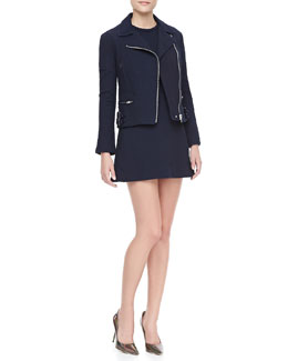 Victoria Beckham Denim Joan Cotton Biker Jacket and Fit-and-Flare Tunic Dress