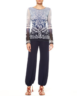 Jean Paul Gaultier Nave Nave Moe Long-Sleeve Ombre Tulle Tattoo Top & Harem Pants
