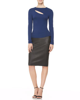 Donna Karan Long-Sleeve Slash Top & Stretch Leather Tube Skirt