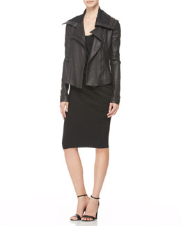 Donna Karan Jersey-Panel Stretch Leather Jacket & Twisted Leather-Strap Tank Dress