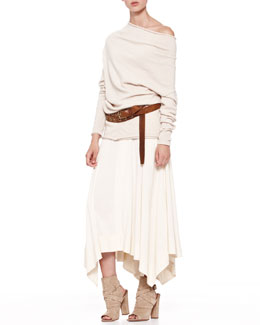 Donna Karan Asymmetric-Neck Tunic, Jersey Handkerchief Skirt & Double-Wrap Hip Belt