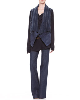 Donna Karan Ribbed-Shearling Vest, Drape-Front Blouse, Flared Trouser Jeans & Double-Wrap Belt