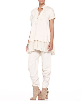 Donna Karan Pleat-Bottom Combo Tunic & Cropped Slouchy Pants