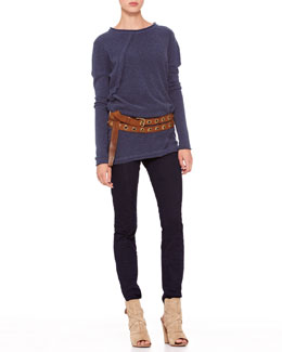 Donna Karan Long-Sleeve Fold Top, Second Skin Pants & Double-Wrap Grommet Belt