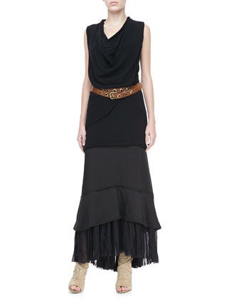Asymmetric Cowl-Neck Top, Pleat-Hem Maxi Skirt & Double-Wrap Grommet Belt