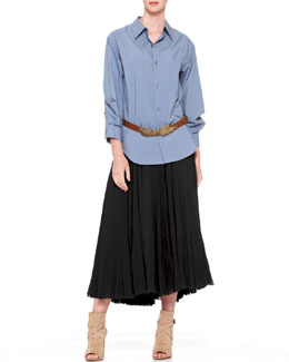 Donna Karan Stitched-Sleeve Button-Down, Jersey-Waist Broomstick Skirt & Hip-Slung Disc Belt