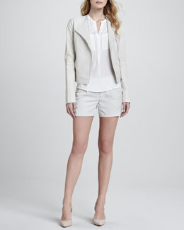 Vince Snake-Embossed Leather Jacket, Silk Welt Pocket Blouse & Silk Tipped Waistband Short
