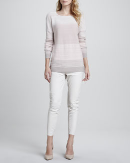 Vince Favorite Tank, Heather White, Degrade Cashmere Long-Sleeve Sweater, Pink & Cropped Leather Pants, Chalk