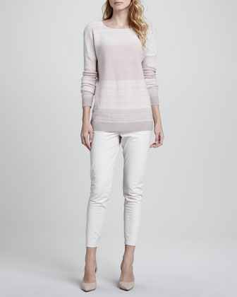 Favorite Tank, Heather White, Degrade Cashmere Long-Sleeve Sweater, Pink & Cropped Leather ...