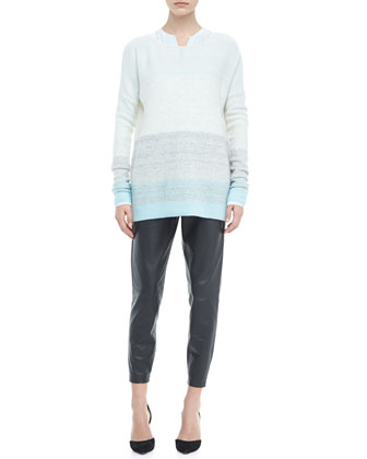 Silk Welt Pocket Blouse, Degrade Cashmere Long-Sleeve Sweater, Aqua & Cropped Leather Pants, ...