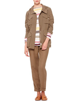 Loro Piana Hooded Wind Jacket, Striped Bateau Tee & Cuffed Ankle Pants