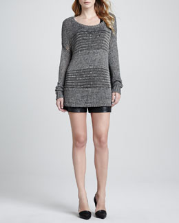 Vince Double Layer Silk Tank, Knit Scoop Neck Sweater & Lamb Leather Shorts