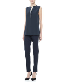 Vince Silk Contrast Sleeveless Blouse & Skinny Strapping Contrast-Color Trousers