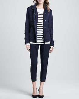 Vince Striped Intarsia Sweater,  Luxe Hooded Short Anorak & Straight-Leg Cuffed Trousers