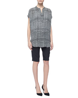 Vince Printed Silk Popover Blouse & Tropical Wool Bermuda Shorts
