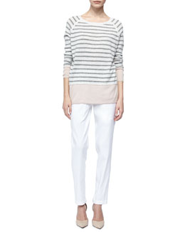 Vince Colorblock Cashmere Sweater with Raglan Sleeves & Linen Jogger Pants