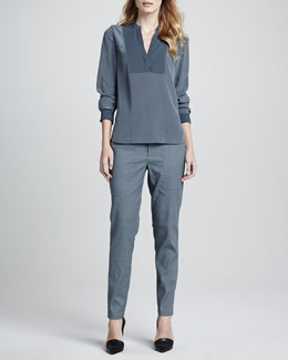 Vince Two-Tone Silk Blouse & Relaxed Drawstring Jogger Pants