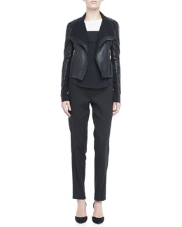 Vince Asymmetric Leather Motorcycle Jacket, Long-Sleeve Colorblock Tee & Linen-Blend Drawstring Jogging Pants