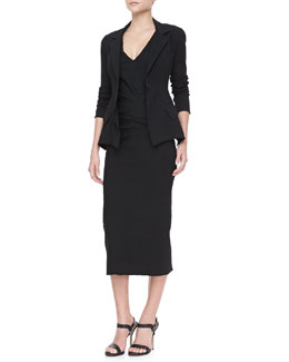 Donna Karan Stretch Modern-Peplum Jacket and Crushed-Waist Midi Dress