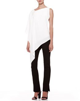Donna Karan Matte Crepe Asymmetric Top & Structured Slim Jersey Body Pants