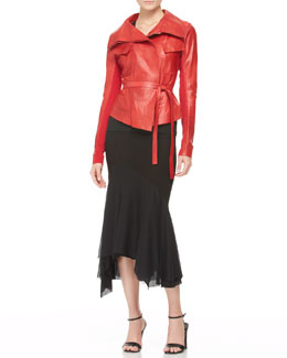 Donna Karan Belted Leather Jacket, V-Neck Top & Chiffon-Bottom Trumpet Skirt