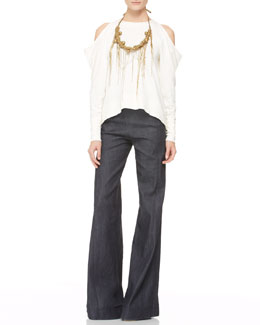 Donna Karan Cold-Shoulder Top, High-Waist Wide Pants & Chain-Fringe Necklace