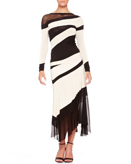 Donna Karan Bicolor Banded Mesh-Panel Top and Mesh-Bottom Skirt