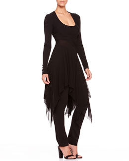 Donna Karan Long-Sleeve Chiffon-Hem Tunic and Straight-Leg Body II Pants