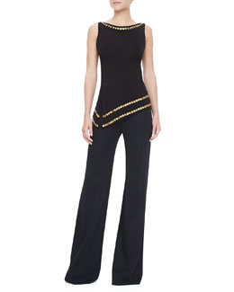Donna Karan Asymmetric Coin-Embellished Top and Wide-Leg Jersey Trousers