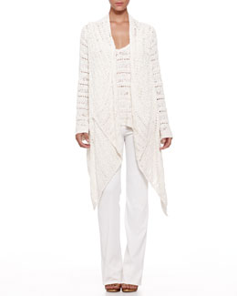 Donna Karan Macrame Drape-Front Sweater and V-Neck Top & Boot-Cut Pull-On Pants