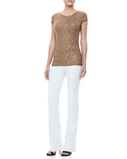Donna Karan Sequined Cap-Sleeve Tee and Boot-Cut Pull-On Pants